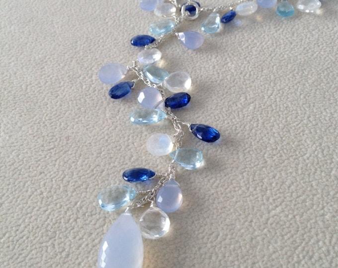 Semiprecious Gemstone Lariat Necklace in Sterling Silver, Sky Blue Topaz, Chalcedony, Rainbow Moonstone, Kyanite - Adjustable Length Lariat