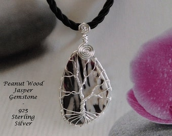 Tree of Life Necklace Pendant Featuring a Peanut Wood Jasper Gemstone Artisan Crafted in 925 Sterling Silver   Tree of Life Pendant 088
