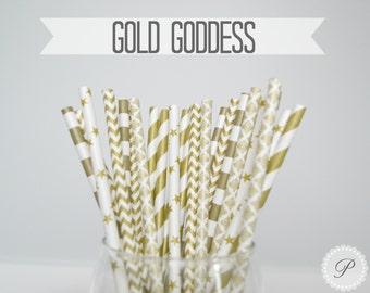 GOLD GODDESS Paper Straws // Chevron - Stars - Stripes - Damask // 5 Designs