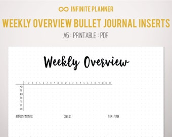 Weekly Overview A5, 24 hour - Bullet Journal Printable PDF