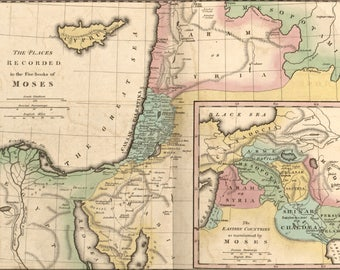 Poster, Many Sizes Available; Map Of Israel & Places From Books Of Moses 1826