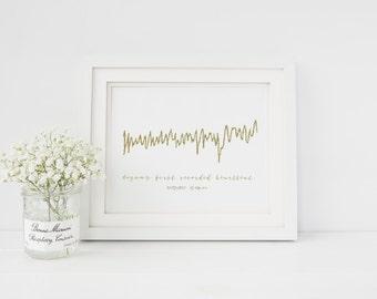 Personalised Heart Beat - Newborn Baby - Pregnancy -  Foil Print - Handmade - PRINTS279