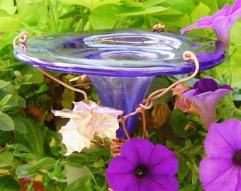 BUTTERFLY FEEDER, stained glass, copper art, Smoky Violet, Garden Decor, Bird feeder