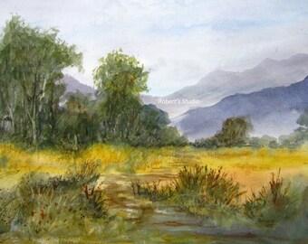 Original Watercolor, Landscape Painting, watercolor painting, watercolor landscape painting, country landscape, mountain view, grassy field