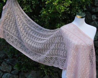Hand knitted Merino Lace Shawl /Wrap/ Stole