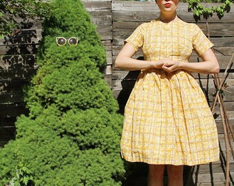 1950's Vintage Yellow Plaid Dress