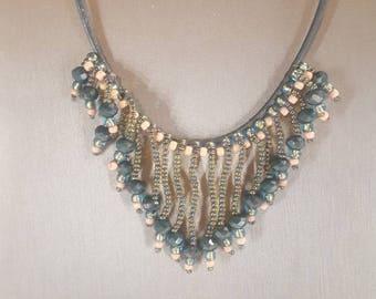 Beaded fringe bib necklace teal beaded necklace bib necklace teal necklace gift for her hand crafted jewelry