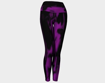 Purple and black yoga leggings, large waistband leggings, paint splattered yoga pants, by Felicianation Ink