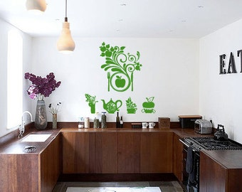 Wall Decal Room Sticker healthy organic healthy style food life diet stamp bo3060