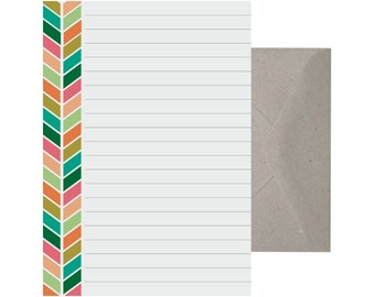 Writing Set – Chevron. Letter Writing Set. Recycled Paper Writing Set. Note Paper. Stationery Set. Cute Letter Set. Colourful.