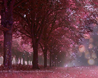 Woodlands Trees Nature Photograph, Sparkling Nature Print Twinkling Fairy Lights Pink Mauve Woodlands Trees, Dreamy Fantasy Nature Woodlands