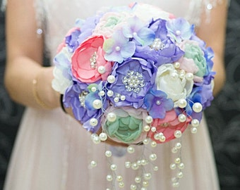 Lavender Brooch Bouquet, Fabric Silk Bouquet, Rustic Bouquet, Unique Wedding Bridal Bouquet, purple, ivory, pink