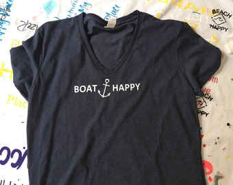 BOAT HAPPY.  T-Shirt made with 6 Recycled Water Bottles!  Check it out!