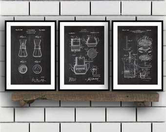 Coffee Related Patent Set of THREE, Coffee Invention Patent, Coffee Poster, Coffee Print, Coffee Patent, Coffee Inventions
