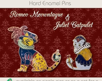 Star Crossed Lovers Hard Enamel Pins - Romeo, Juliet, Shakespeare, Flair, Button, Accessory, Cat, Cats, Romeo and Juliet, Pin, Cute