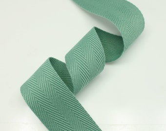 "5 Yards of Sage green Color 15mm (5/8"") or 25mm (1"") Cotton Twill Herringbone Ribbon Fabric Ribbon Tape Vintage Color trim - Annielov Crafts"
