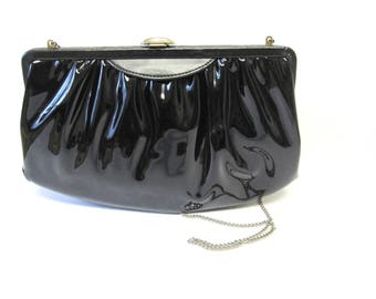 Mardane Black Patent Leather Purse 1960's Vintage Handbag With Built In Mirror