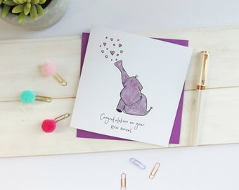 Elephant new baby card. Elephant new arrival card. New baby card. Cute elephant card. Baby card. Animal card.