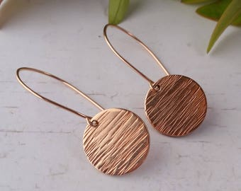 Rose Gold Earrings. Hammered Circle Dangle, Rose Gold Bonded, Contemporary Earrings, Mothers Day, Gift For Her, Gold Earrings, Pink Gold
