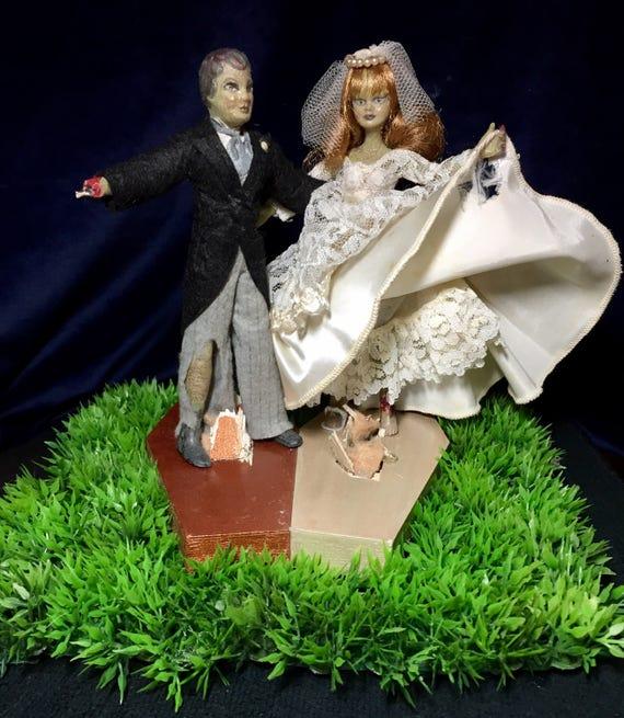Mr. & Mrs. Zonbie Original Undead Till Death Wedded Zombie Bride And Groom Bliss Biohazard Newlyweds