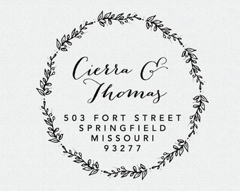 Custom Address Stamp, Calligraphy Stamp, Self Inking Stamp, Wedding Present, Bridal Shower, Wood Stamp,Floral, Vines, Wreath (T152)