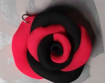 Hot Pink And Black Sculpted Rose Charm Necklace