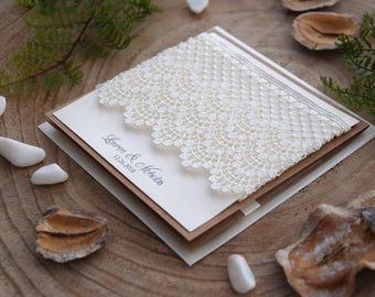 Custom Invitations, Lace Wedding Invitation, Elegant Wedding Invitation, Pocket Invitation, Lace Invitation, Guipur Invitation - SAMPLE