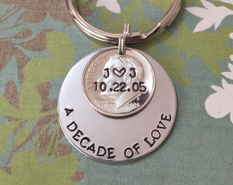 A Decade Of Love Hand Stamped Personalized Dime Keychain, 10 Year Anniversary Gift For Him, Her, Traditional Aluminum 10th Year Gift For Men