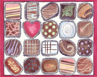 Watercolor Painting - Box of Chocolates Art - Food Illustration Watercolor Art Print, 11x14 Wall Art, Candy Series no. 3