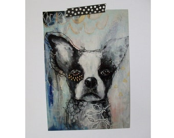 Boston terrier Dog glossy oversized postcard poster print Doggy painting art print A5 size - It's ok to dream