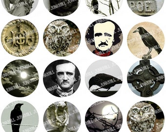 """THE RAVEN - Digital Printable Collage Sheet - Edgar Allen Poe with Full Moon, Crows, Owls & Cemetery Graves, 1"""" Circles, Instant Download"""