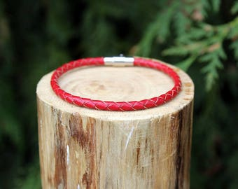 Red Braided Leather Bracelet, Leather Bracelet, Braided Leather, Braided Bracelet, Red Leather, Mens Bracelet, Womens Bracelet