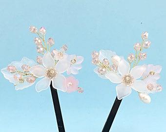 Bobby Pins With Flowers, Bobby Pins Crystal, Flower Girl Hair Clip White Flower Girl Hair Accessories Wedding Bobby Pins Flower Hair Pins