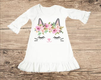 Kitty Cat Dress with Flower Crown, Ruffle Baby Clothes