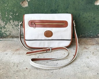 Vintage Alba Pebbled Leather White and Tan Crossbody Purse