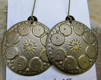Mandala earrings round spiral brass earrings dangle drop earrings on kidney ear wire/ bohemian  jewelry