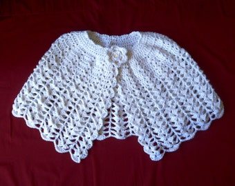 Girl's White Crocheted Shawl, Communion, Flower Girl, Easter, Special Occasion