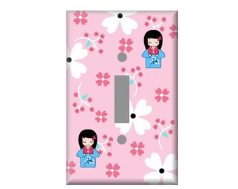 Kokeshi doll Switchplate Cover, Girls light switch covers, Outlet Covers Pink, Japanese doll wall decor, Rocker covers, Toggle switch, cute