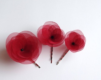 Set of 3 Red Handmade Organza Poppies Hair Pins