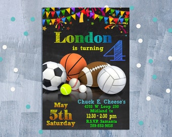 Sport Birthday Invitation, Sport Invitation, Sport Birthday Party, Sport Theme Invite, Ball Game Party Invitation, Personalized JPEG