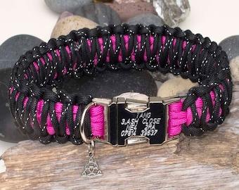 Dark Pink & Reflective Black Paracord Dog Collar - Free Engraving