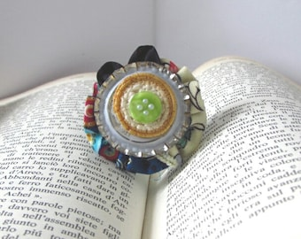 Gift for him, Unique Jewelry, Wearable Art, One of a Kind, Lapel pin, Polymer Clay, Upcycled, Vintage style, Gift for her, Boho chic, Retro