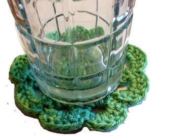 Sage Green Japanese Flower Coasters, Set of 4