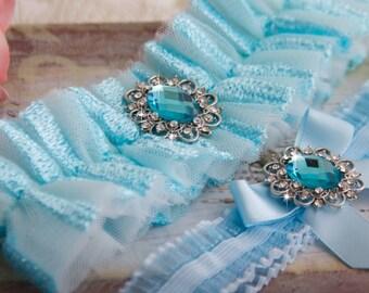 Blue Wedding Garter Set, Blue Bridal Garter Set, Tulle Garter, Blue Tulle Wedding Garter, Something Blue Tulle Wedding Garter