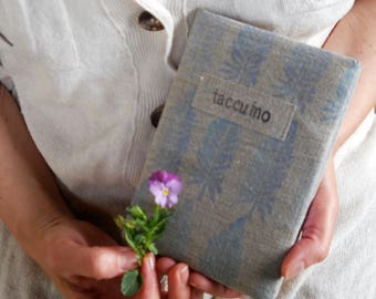 """Printed linen hand-painted Notebook """"Natural"""" series"""