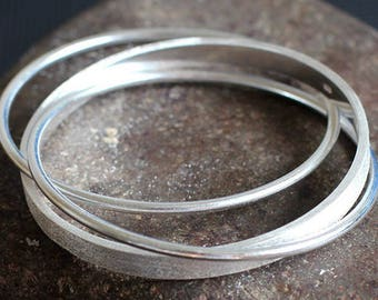 Bracelet Bangle Trio of 925 sterling silver wire