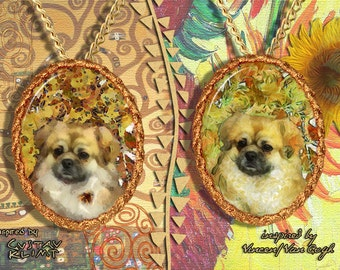 Tibetan Spaniel Jewelry Pendant - Brooch Handcrafted Porcelain by Nobility Dogs - Gustav Klimt and Van Gogh