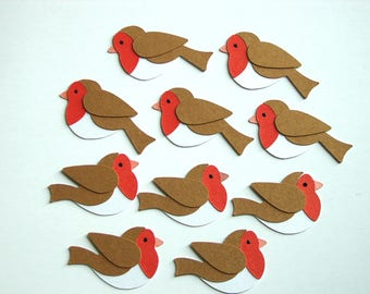 10 Robin Diecut Christmas Embellishments Little Robin Redbreast Christmas Toppers for Cardmaking Crafts Scrapbooking Handmade Robin Toppers