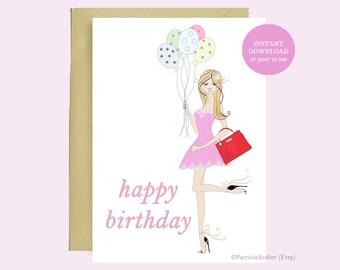Happy Birthday   illustrated birthday card   birthday gift   birthday girl   birthday greeting card   instant download   HB03CA
