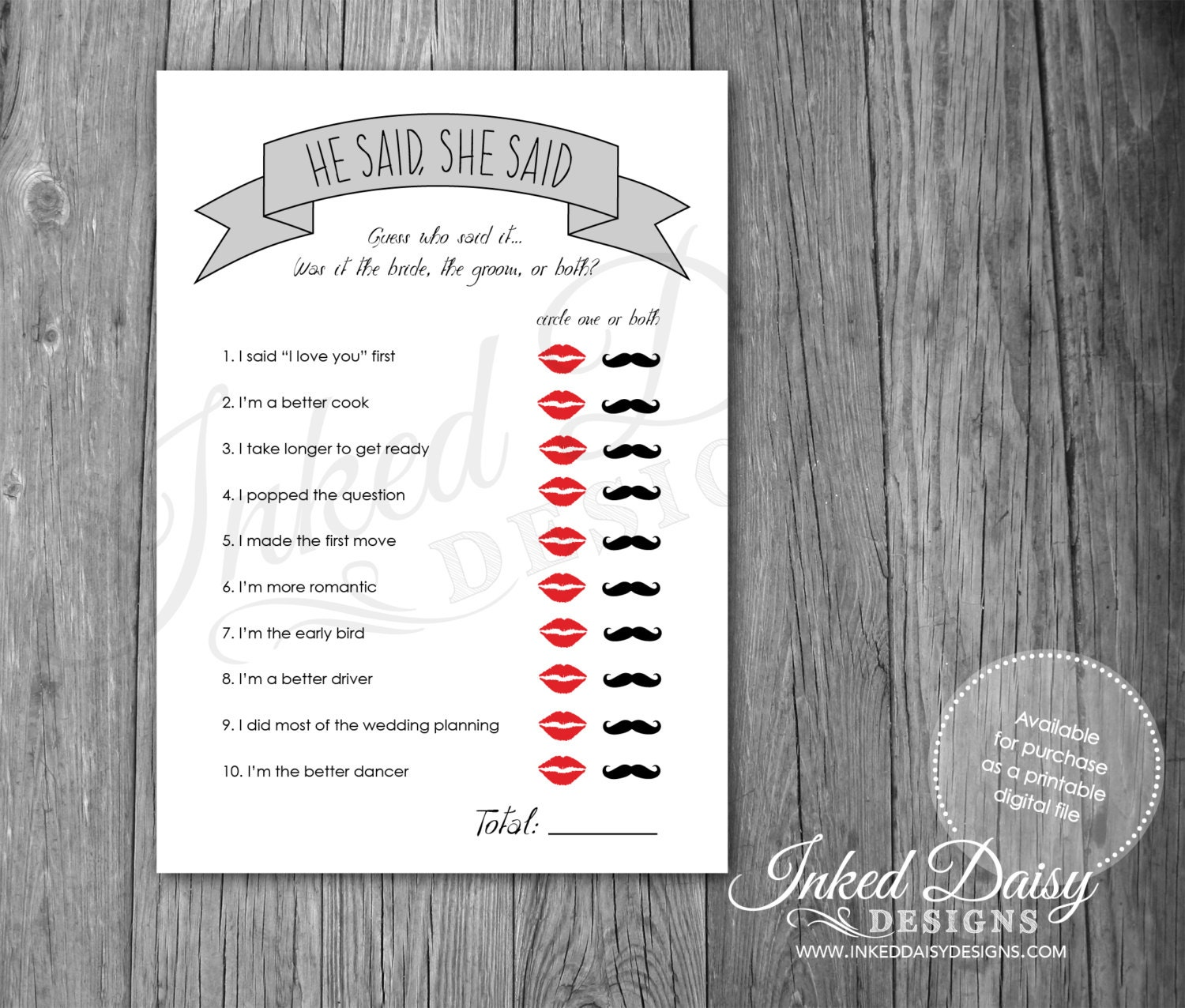 INSTANT DOWNLOAD Bridal Shower Game He Said She Said